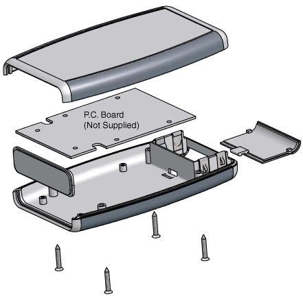 1553 ttgy gris T Suave Cara gabinete portátil 165 X 68 X 28mm Hammond