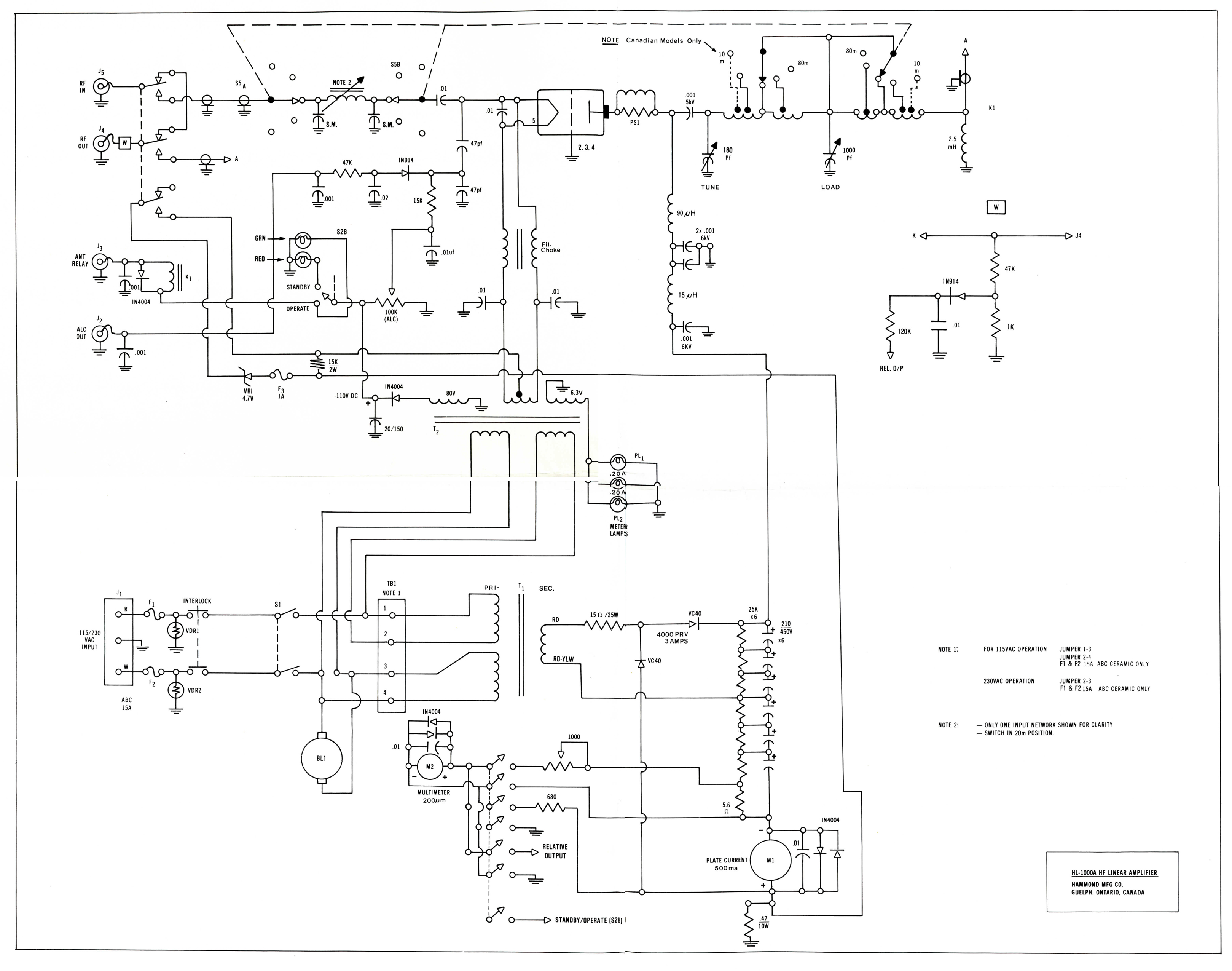 Hammond Mfg Discontinued Hf Linear Amplifier Hl 1000a 3 Way Switch Wiring Diagram For Amp Standby Schematic 8 X 10 High Res